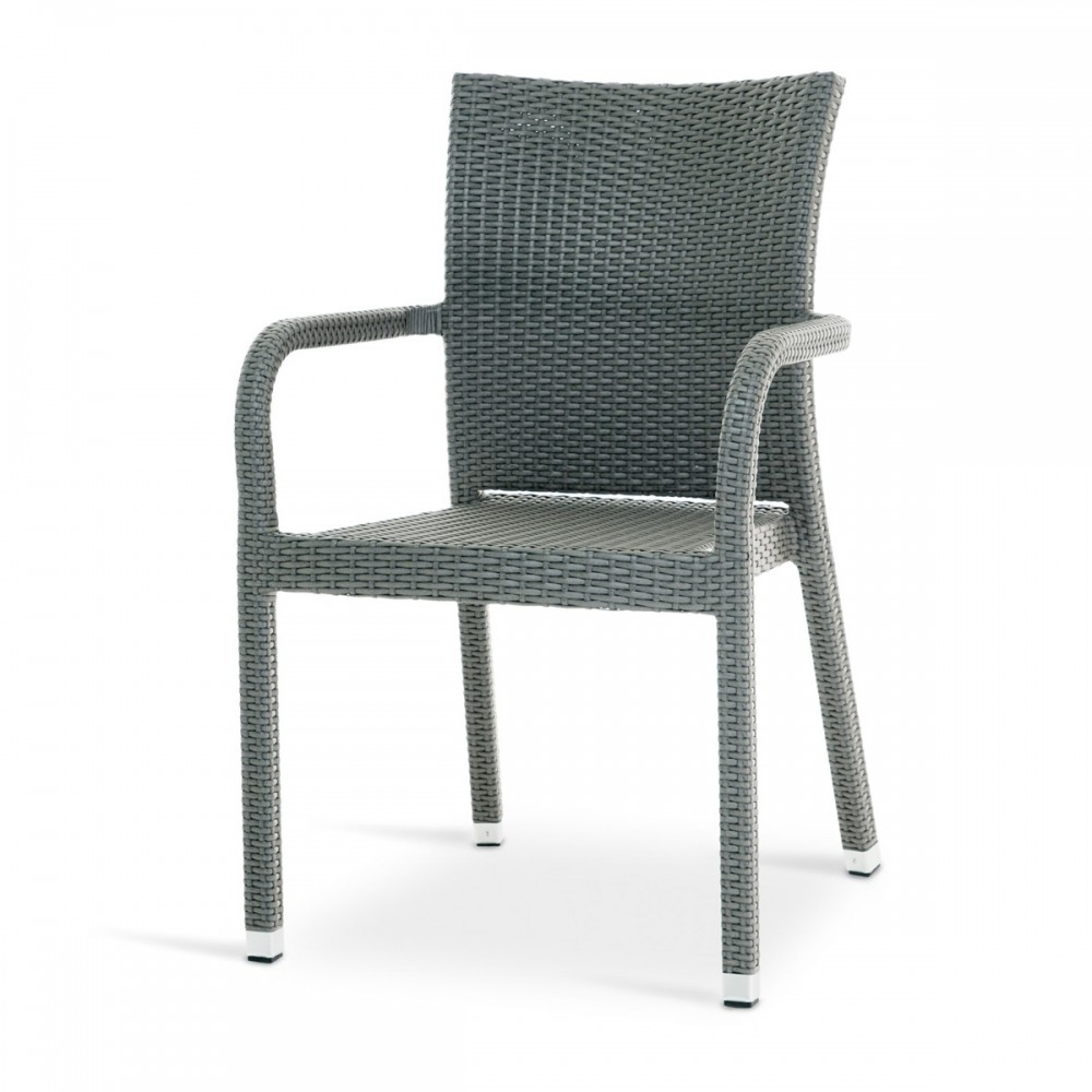 Sedia con braccioli in rattan sintetico grigio - GS 901 ...
