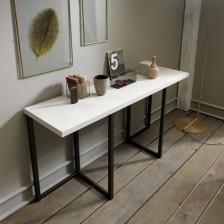 Tavolo consolle trasformabile, piano in nobilitato Resina Silver N33; struttura Grafite Goffrato M11