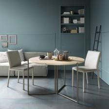 Tavolo pieghevole di design, piano Nobilitato Natural Halifax Oak N20, struttura bronzo goffrato M19