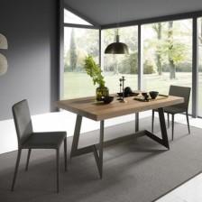 Tavolo rettangolare che diventa quadrato, piano Noce Canaletto W10; struttura Bronzo Goffrato M19