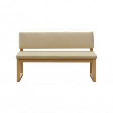 Panca con schienale in legno color rovere ed ecopelle beige - Alba 140