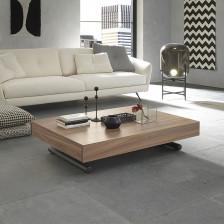 Tavolino salotto trasformabile in tavolo da pranzo, piano in noce canaletto W10; struttura grafite goffrato M11