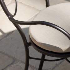 Sedia da esterno in ferro battuto con cuscino
