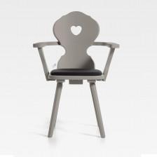 Sedia con braccioli stile tirolese con cuore