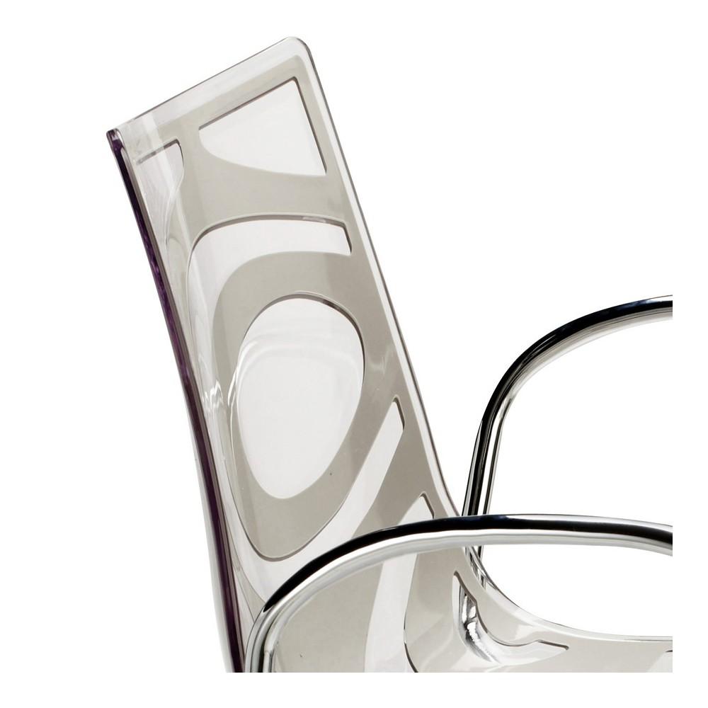 Sedia di plastica trasparente con braccioli - Wave P ...