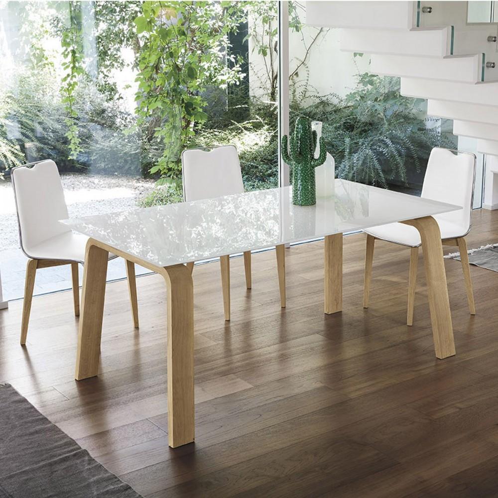Tavolo Da Pranzo Moderno In Legno E Vetro Deimos Lg Arredasi