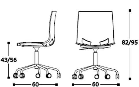 Sedia in plastica colorata girevole e regolabile in for Ego divani opinioni