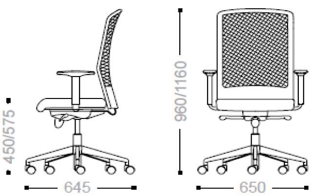 Sedia operativa da ufficio girevole e regolabile wisp for Sedia misure