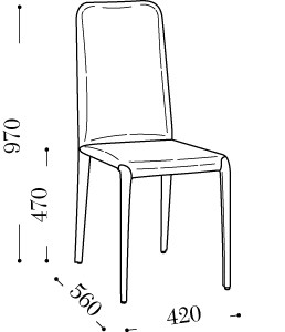 Sedia in pelle o ecopelle ombra ts arredas - Dimensioni sedia ...