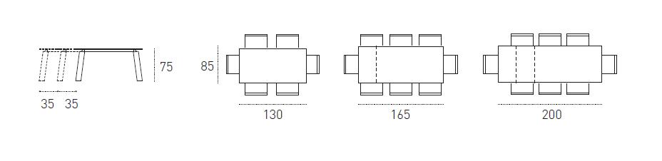 Dimensioni Tavoli Deimos 130 - Target Point